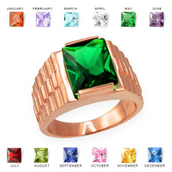 Mens Square CZ Birthstone Watchband Ring in Rose Gold