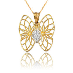 Yellow Gold Filigree Butterfly Diamond Pendant Necklace