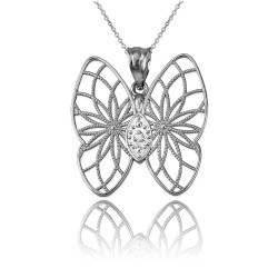 White Gold Filigree Butterfly Diamond Pendant Necklace