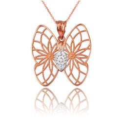 Rose Gold Filigree Butterfly Diamond Pendant Necklace