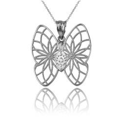 Sterling Silver Filigree Butterfly Diamond Pendant Necklace