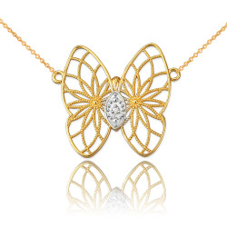 14K Yellow Gold Filigree Butterfly Diamond Necklace
