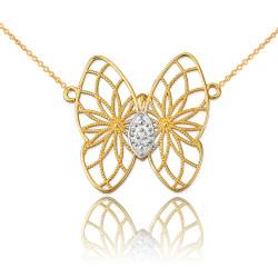 14K Yellow Gold Filigree Butterfly Diamond Necklace