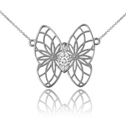 14K White Gold Filigree Butterfly Diamond Necklace