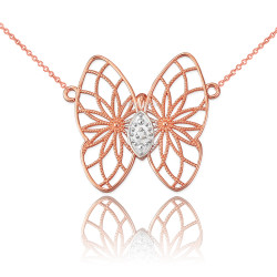 14K Rose Gold Filigree Butterfly Diamond Necklace