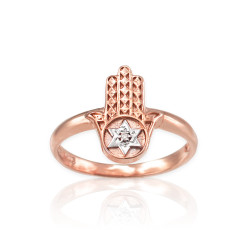 Rose Gold Hamsa Star of David Diamond Ring