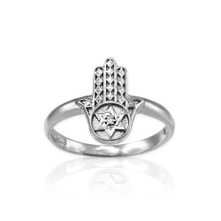 Sterling Silver Hamsa Star of David Diamond Ring
