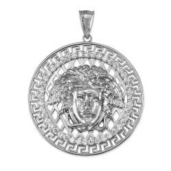White Gold Medusa CZ Medallion Pendant (S/L)
