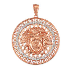 Rose Gold Medusa CZ Medallion Pendant (S/L)