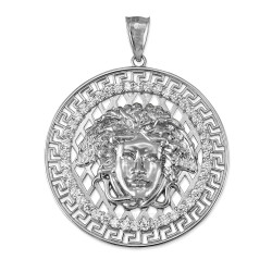 Sterling Silver Medusa CZ Medallion Pendant (S/L)