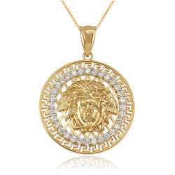 Yellow Gold Medusa CZ Medallion Pendant Necklace
