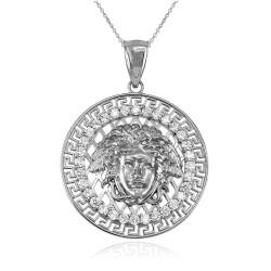 White Gold Medusa CZ Medallion Pendant Necklace