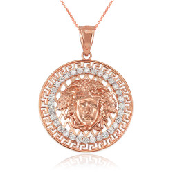 Rose Gold Medusa CZ Medallion Pendant Necklace