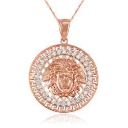 Rose Gold Medusa CZ Medallion Pendant Necklace