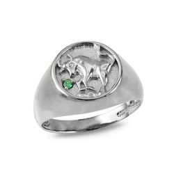 White Gold Genuine Birthstone Zodiac Ring