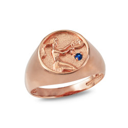 Rose Gold Genuine Birthstone Zodiac Ring