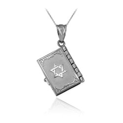White Gold Judaic Ten Commandments 3D Jewish Bible Necklace