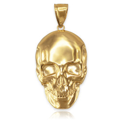 Polished Yellow Gold Mens Skull  Pendant