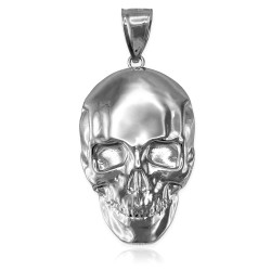 Polished White Gold Mens Skull  Pendant