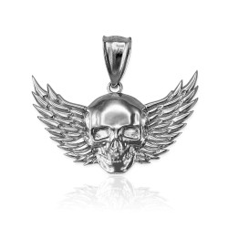 Sterling Silver Skull with Wings Deaths Head Biker Pendant