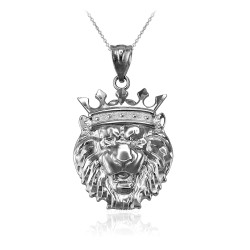 White Gold Lion King Charm Necklace