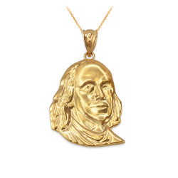 Ben Franklin Charm Necklace in Yellow Gold