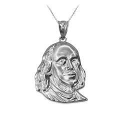 White Gold Benjamin Franklin Pendant Necklace