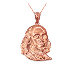 Rose Gold Benjamin Franklin Pendant Necklace