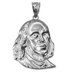 White Gold Benjamin Franklin Pendant (S/M/L)