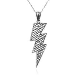 White Gold Lightning Bolt DC Pendant Necklace