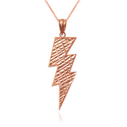 Rose Gold Lightning Bolt DC Pendant Necklace