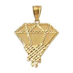 Yellow Gold Diamond Dripping DC Pendant