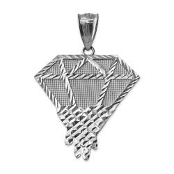 White Gold Diamond Dripping DC Pendant