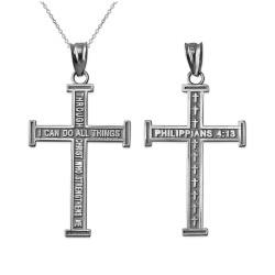 White Gold Reversible Christian Cross Pendant Necklace