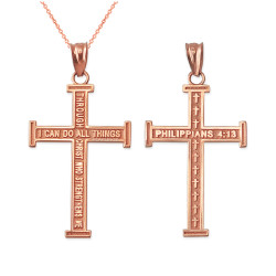 Rose Gold Reversible Christian Cross Pendant Necklace