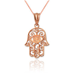 Rose Gold Filigree Hamsa Evil Eye Charm Necklace