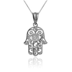 White Gold Filigree Hamsa Evil Eye Charm Necklace