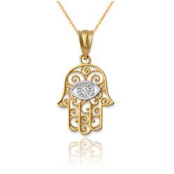 Two-Tone Yellow Gold Filigree Hamsa Evil Eye Charm Necklace