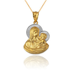 Two-Tone Yellow Gold Virgin Mary Baby Jesus Charm Necklace (S/L)