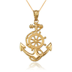 Yellow Gold Nautical Anchor Pendant Necklace