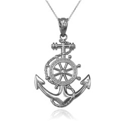 White Gold Nautical Anchor Pendant Necklace