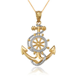 Two-Tone Yellow Gold Nautical Anchor Pendant Necklace