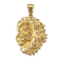 Yellow Gold Lion Face Sparkle Cut Pendant (S/L)