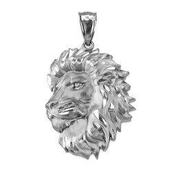 White Gold Lion Face Sparkle Cut Pendant (S/L)