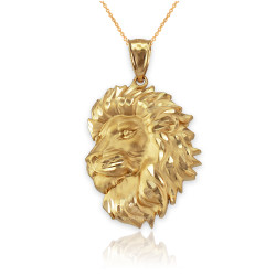 Yellow Gold Lion Face Sparkle Cut Pendant Necklace