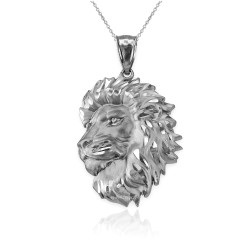 White Gold Lion Face Sparkle Cut Pendant Necklace