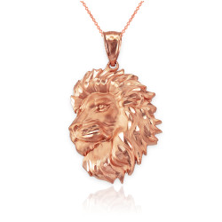 Rose Gold Lion Face Sparkle Cut Pendant Necklace
