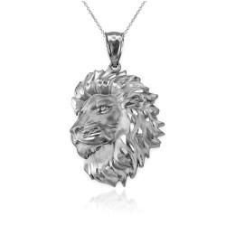 Sterling Silver Lion Face Sparkle Cut Pendant Necklace