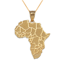 Yellow Gold Africa Country Map Pendant Necklace