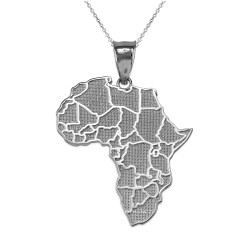 White Gold Africa Country Map Pendant Necklace